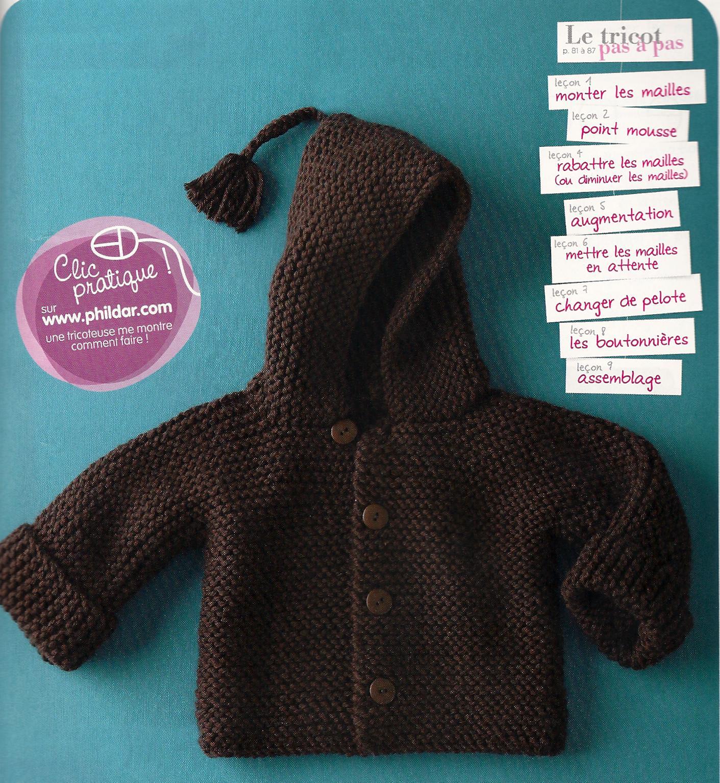 Modello bambino 6 mesi lana ferri cardigan cappuccio