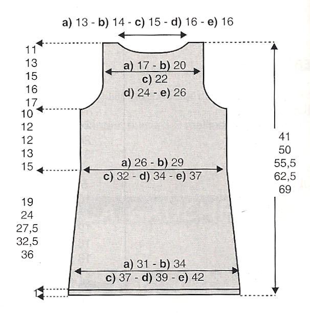Abito canotta misure 2 4 6 8 10 anni la maglia di marica - Punto a punto per i bambini di 3 anni ...