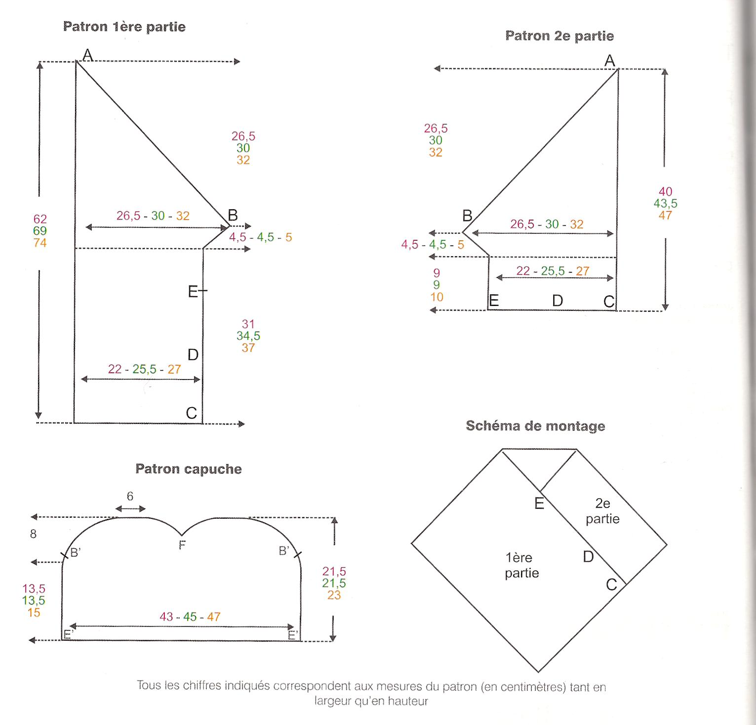 Bien-aimé PONCHO -cotone 3-6 / 12 / 18-24 mesi | La Maglia di Marica YI39