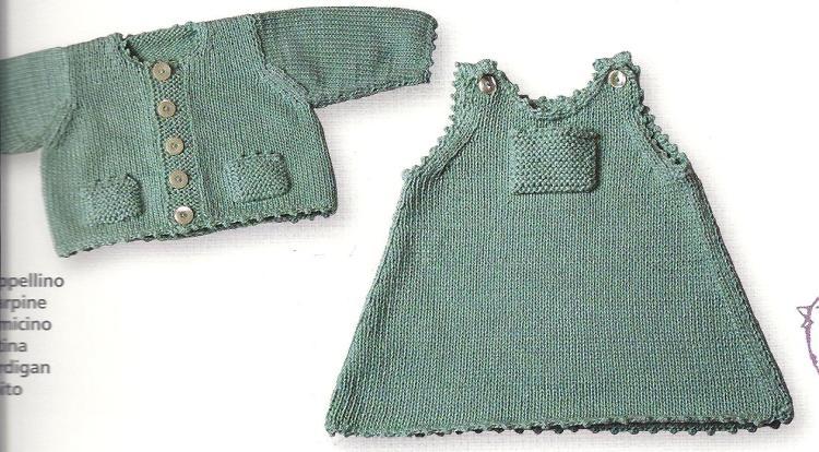 Yeşil bebek elbisesi ve hırka örneği