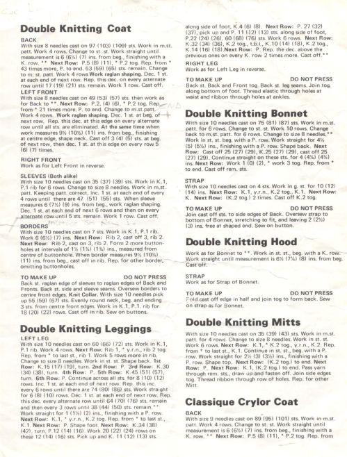KNIT - Pingouin 6937 Coat, Leggings, Bonnet, Hood and Mitts
